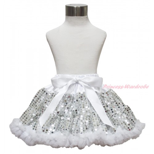 Sparkle White Bling Sequins Full Pettiskirt P232