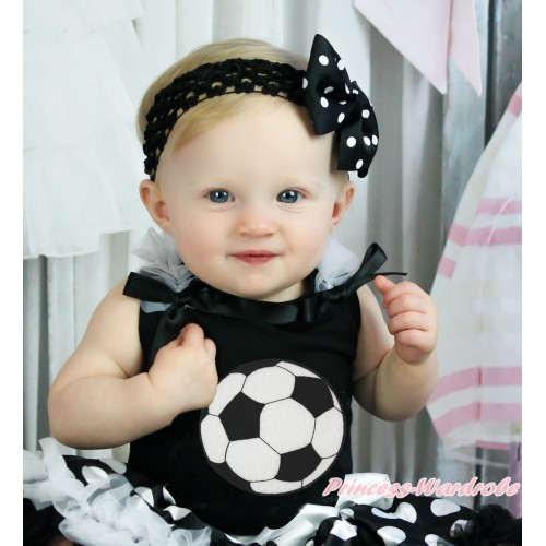 Black Tank Top White Ruffles Black Bow & Football Print TB1380