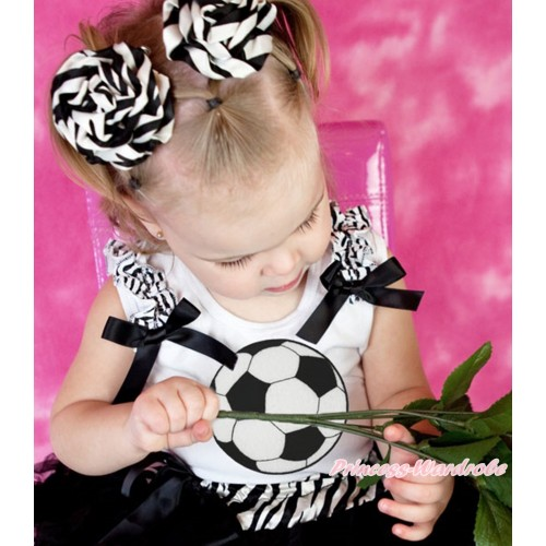 White Tank Top Zebra Ruffles Black Bow & Football Print TB1381