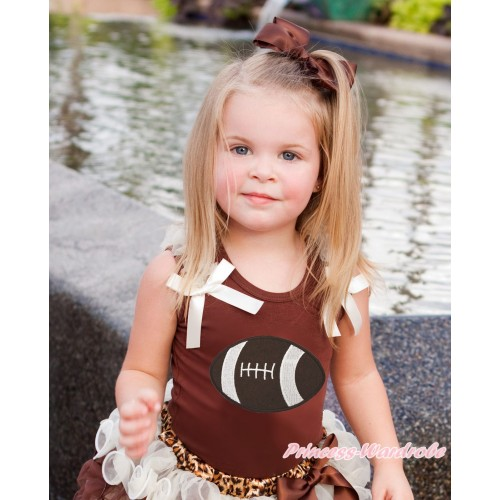 Brown Tank Top Cream White Ruffles & Bow & Rugby Ball Print TB1382