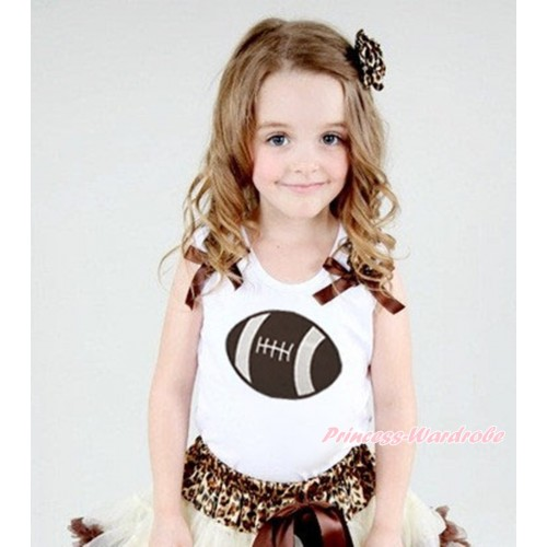 White Tank Top Leopard Ruffles Brown Bow & Rugby Ball Print TB1383