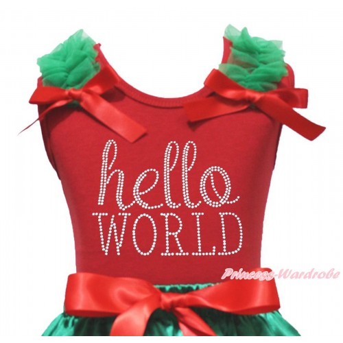 Red Tank Top Kelly Green Ruffles Red Bow & Sparkle Rhinestone Hello World Print TB1387