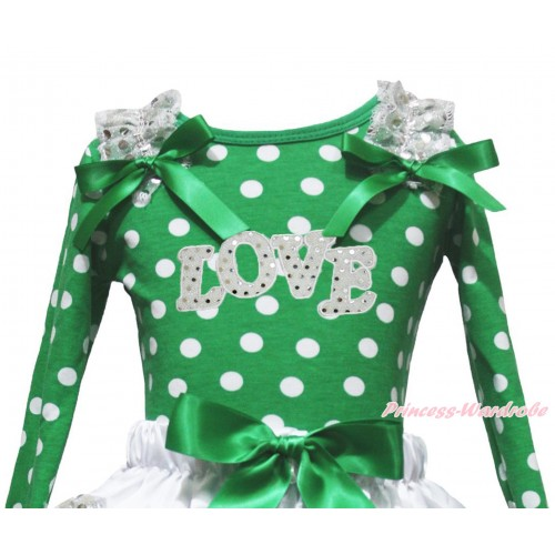 Valentine's Day Kelly Green White Dots Top White Sequins Ruffles Kelly Green Bow & Sparkle White LOVE Print TB1391