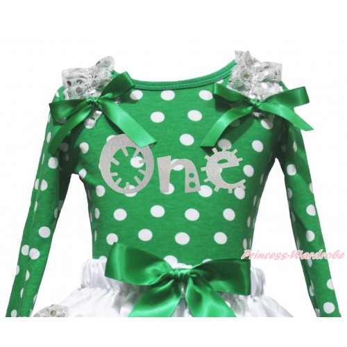 Kelly Green White Dots Top White Sequins Ruffles Kelly Green Bow & Sparkle Grey One Painting TB1392
