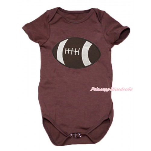 Brown Baby Jumpsuit & Rugby Ball Print TH641
