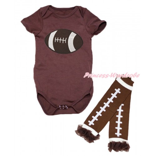 Brown Baby Jumpsuit Rugby Ball Print & Warmer Set TH642