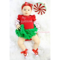 Xmas Max Style Snowflakes Long Sleeve Red Baby Bodysuit Kelly Green Pettiskirt & Rhinestone My 1st Christmas Print & Headband & Shoes JS4912