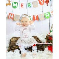 Christmas White Long Sleeve Bodysuit Bling White Sequins Pettiskirt & Rhinestone Christmas Hat & Headband & Leg Warmers JS4913