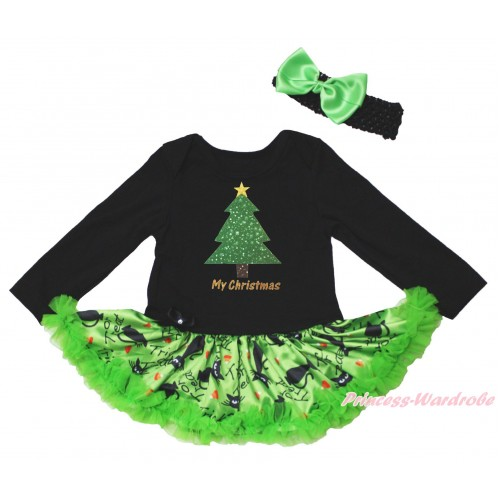 Christmas Black Long Sleeve Bodysuit Green Black Cat Pettiskirt & My Christmas Tree Painting JS4820
