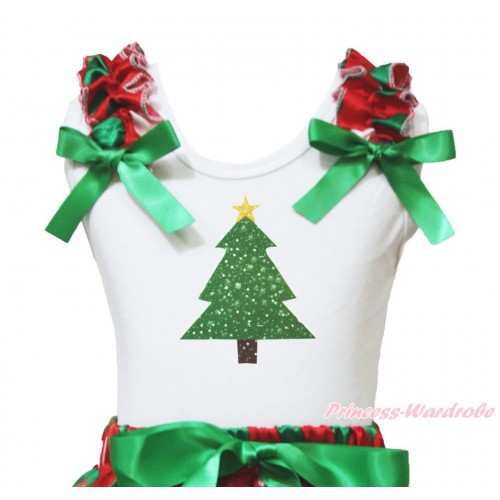 Xmas White Tank Top Red White Green Dots Ruffles Kelly Green Bow & Christmas Tree Painting TB960