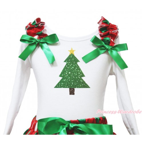 Xmas White Long Sleeves Top Red White Green Dots Ruffles Kelly Green Bow & Christmas Tree Painting TW528