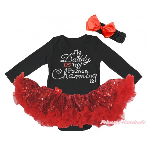 Black Long Sleeve Bodysuit Bling Red Sequins Pettiskirt & Sparkle Rhinestone Daddy Is My Prince Chaming Print JS4986