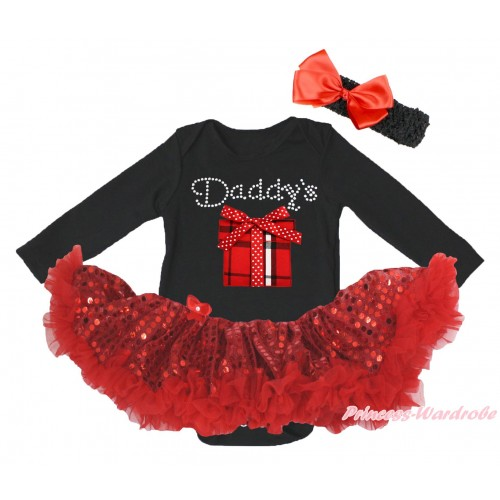 Black Long Sleeve Bodysuit Bling Red Sequins Pettiskirt & Rhinestone Daddy's Gift Box Print JS4988