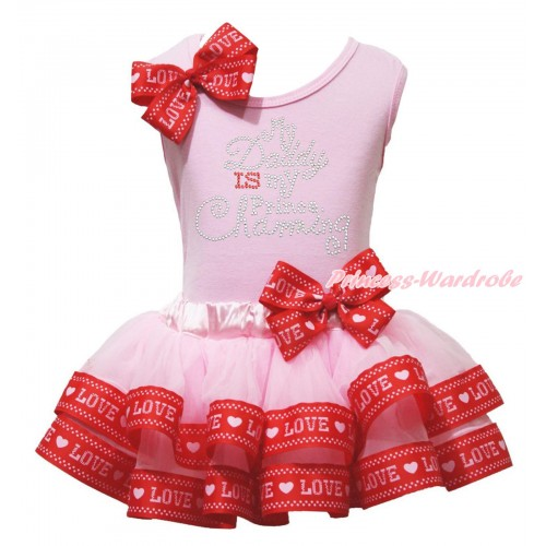 Father's Day Light Pink Tank Top Red LOVE Bow & Rhinestone My Daddy Is My Prince Chaming Print & Light Pink Red LOVE Trimmed Pettiskirt MG1946