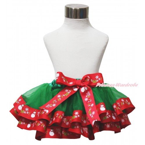 Xmas Kelly Green & Red Merry Christmas Trimmed Newborn Baby Pettiskirt & Bow N286