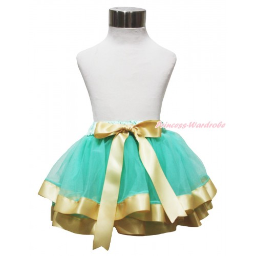 Aqua Blue & Goldenrod Trimmed Full Pettiskirt & Bow P237