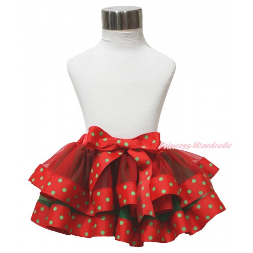 Xmas Red Kelly Green & Dots Trimmed Full Pettiskirt & Bow P238
