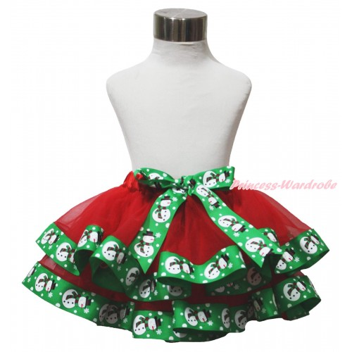 Xmas Red & Green Snowman Trimmed Full Pettiskirt & Bow P239