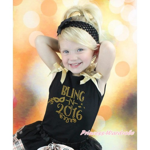 Black Tank Top Goldenrod  Ruffles & Bow & Sparkle Rhinestone Bling In 2016 Print TB1399