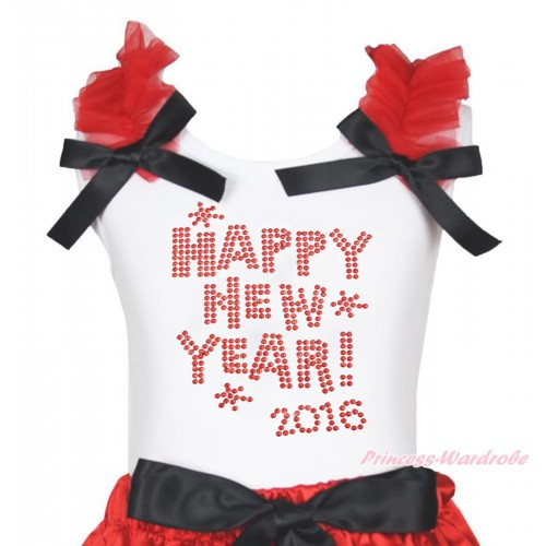 White Tank Top Red Ruffles Black Bow & Sparkle Rhinestone Happy New Year 2016 Print TB1400