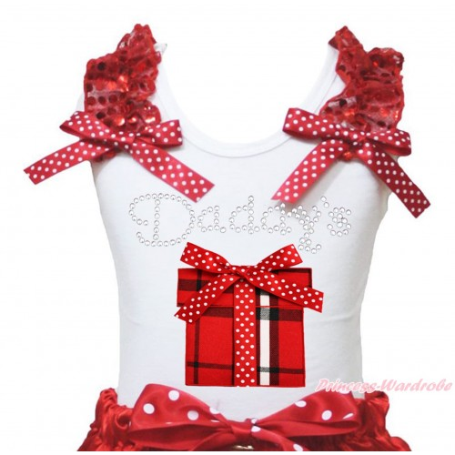 White Tank Top Red Sequins Ruffles Minnie Dots Bow & Rhinestone Daddy's Red White Checked Gift Box Print TB1401