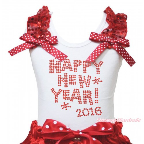 White Tank Top Red Sequins Ruffles Minnie Dots Bow & Sparkle Rhinestone Happy New Year 2016 Print TB1402
