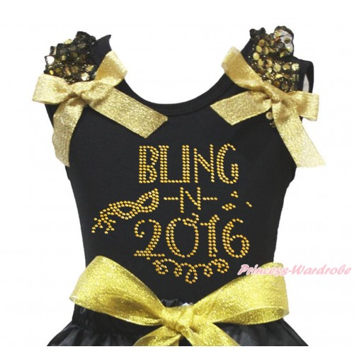 Black Tank Top Gold Sequins Ruffles Sparkle Gold Bow & Sparkle Rhinestone Bling In 2016 Print TB1403