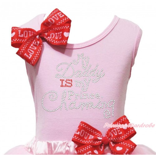 Father's Day Light Pink Tank Top Red LOVE Bow & Sparkle Rhinestone My Daddy Is My Prince Chaming Print TB1404