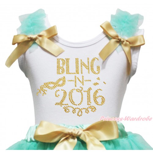 White Tank Top Aqua Blue Ruffles Goldenrod Bow & Sparkle Rhinestone Bling In 2016 Print TB1407