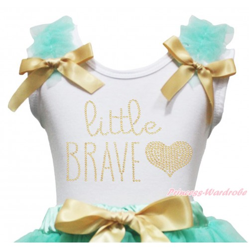 White Tank Top Aqua Blue Ruffles Goldenrod Bow & Sparkle Rhinestone Little Brave Print TB1408