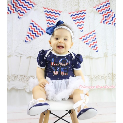 Anchor Baby Bodysuit White Pettiskirt & Sqeuins Patriotic American LOVE Print & Headband & Shoes JS4998