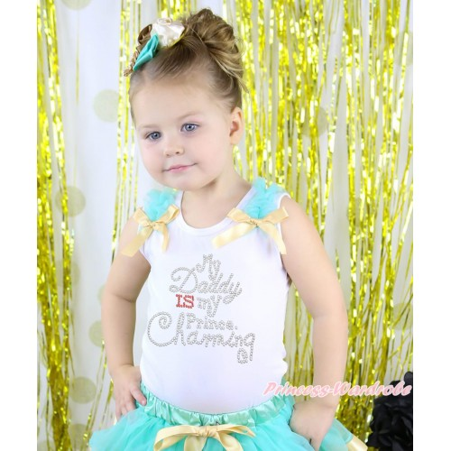 Valentine's Day White Tank Top Aqua Blue Ruffles Goldenrod Bow & Rhinestone My Daddy Is My Prince Chaming Print TB1410