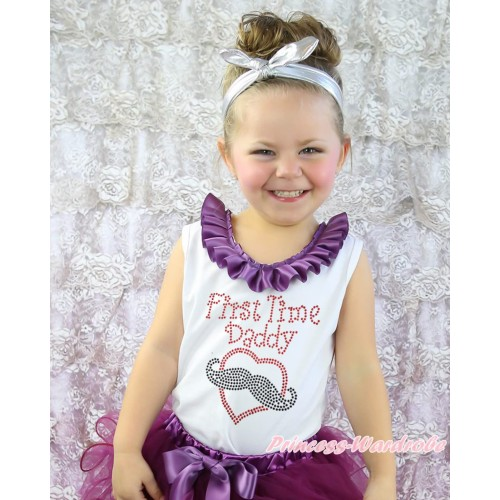 Father's Day White Tank Top Amethyst Lacing & Sparkle Rhinestone First Time Daddy Print TB1411
