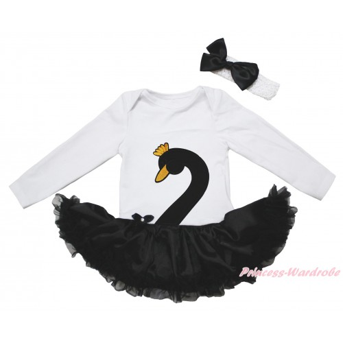 White Long Sleeve Bodysuit Black Satin Pettiskirt & Black Swan Print JS5018