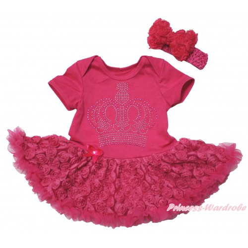 Hot Pink Baby Bodysuit Hot Pink Rose Pettiskirt & Sparkle Rhinestone Crown Print JS5513