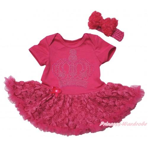 Hot Pink Baby Bodysuit Hot Pink Rose Pettiskirt & Sparkle Rhinestone Crown Print JS5513