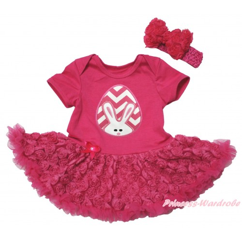 Easter Hot Pink Baby Bodysuit Hot Pink Rose Pettiskirt & Pink White Chevron Rabbit Egg Print JS5518