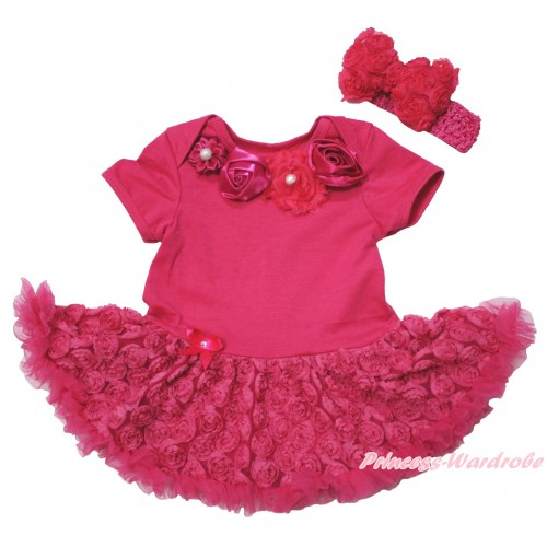 Hot Pink Baby Bodysuit Hot Pink Rose Pettiskirt & Hot Pink Vintage Garden Rosettes Lacing JS5520