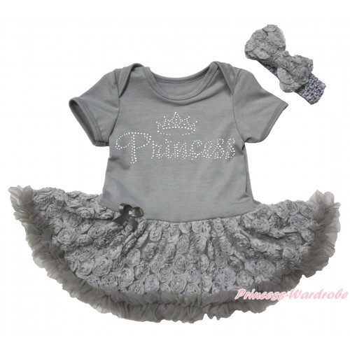 Grey Baby Bodysuit Grey Rose Pettiskirt & Sparkle Rhinestone Princess Print JS5534