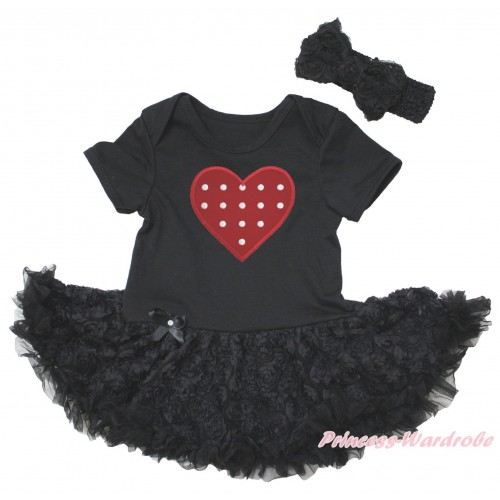Black Baby Bodysuit Black Rose Pettiskirt & Red White Polka Dots Heart Print JS5574