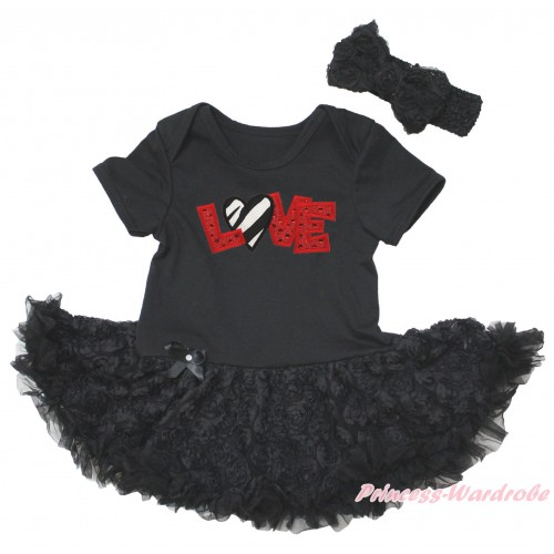 Black Baby Bodysuit Black Rose Pettiskirt & Sparkle Red LOVE Zebra Heart Print JS5575