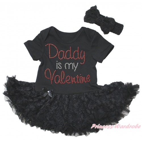 Black Baby Bodysuit Black Rose Pettiskirt & Sparkle Rhinestone Daddy Is My Valentine Print JS5577