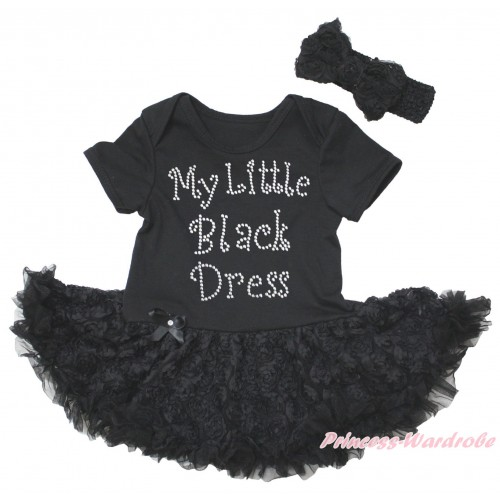 Black Baby Bodysuit Black Rose Pettiskirt & Sparkle Rhinestone My Little Black Dress Print JS5579