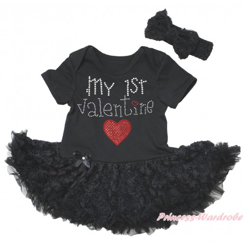 Black Baby Bodysuit Black Rose Pettiskirt & Sparkle Rhinestone My 1st Valentine Sparkle Red Heart Print JS5582