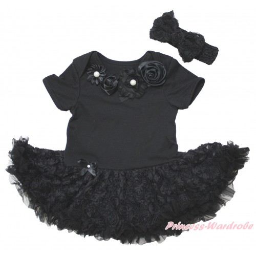 Black Baby Bodysuit Black Rose Pettiskirt & Black Vintage Garden Rosettes Lacing JS5583