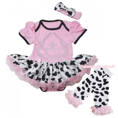 Light Pink Baby Bodysuit Milk Cow Pettiskirt & Sparkle Rhinestone Cowgirl Print & Warmers Leggings JS5600