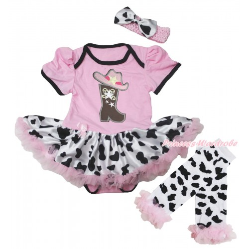 Light Pink Baby Bodysuit Milk Cow Pettiskirt & Cowgirl Hat Boot Print & Warmers Leggings JS5601