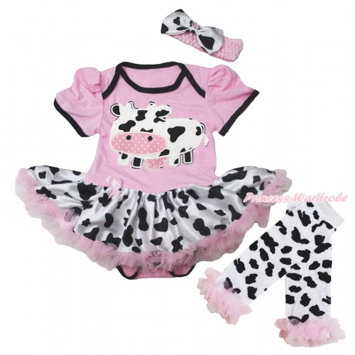 Light Pink Baby Bodysuit Milk Cow Pettiskirt & Milk Cow Print & Warmers Leggings JS5602
