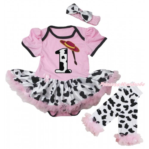 Light Pink Baby Bodysuit Milk Cow Pettiskirt & 1st Cowgirl Hat Braid Milk Cow Birthday Number Print & Warmers Leggings JS5603
