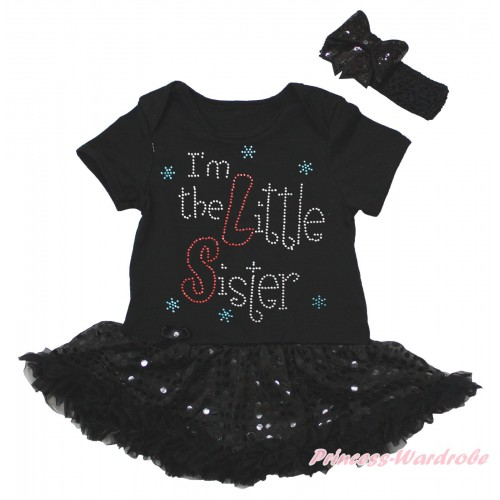 Black Baby Bodysuit Jumpsuit Bling Black Sequins Pettiskirt & Sparkle Rhinestone I'm The Little Sister Print JS5613